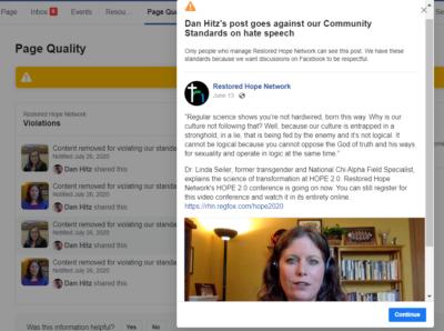Banned Restored Hope Network Facebook Post