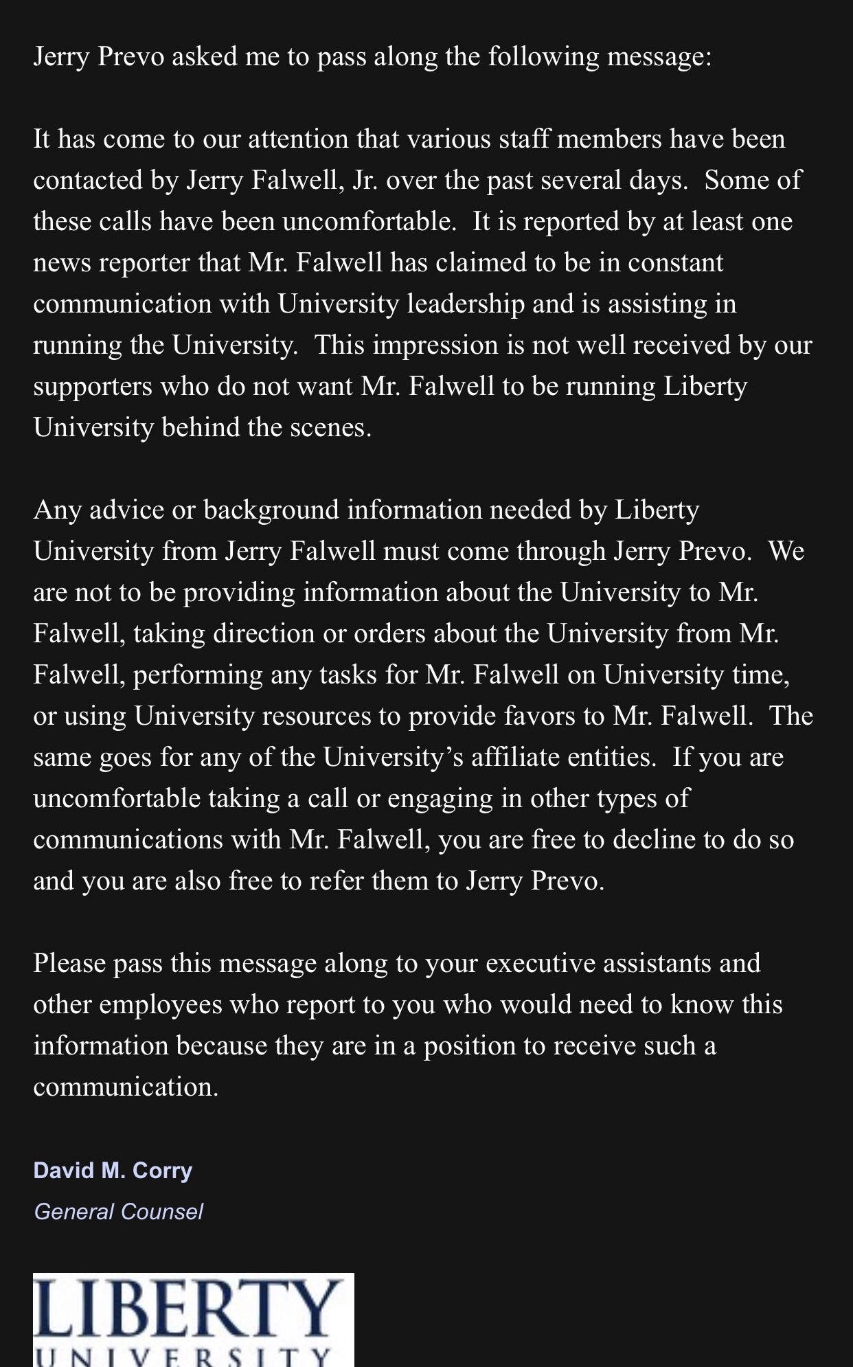 David Corry Letter About Falwell