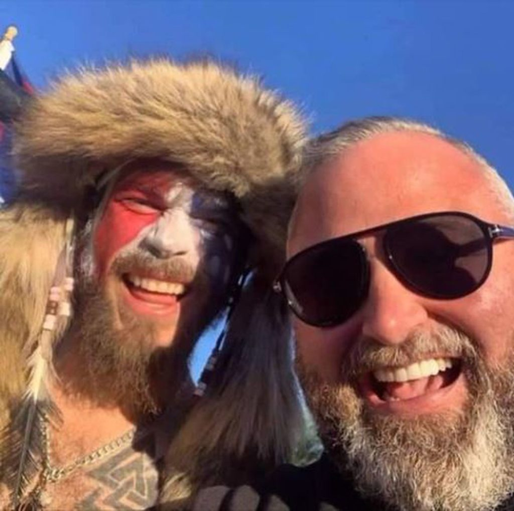 """Pastor Brian Gibson with """"Viking Guy"""""""