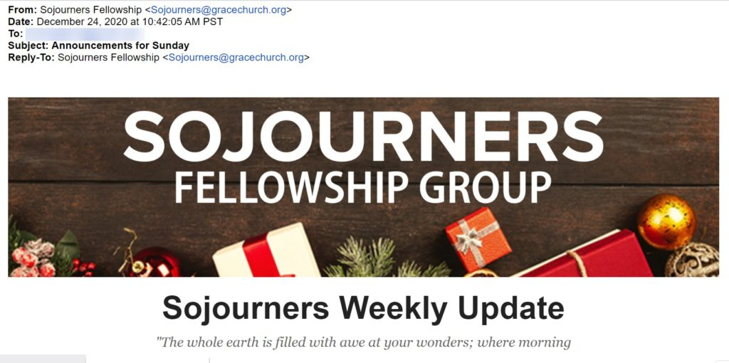 Sojourners Email
